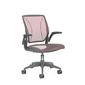 Pinstripe Mesh Red World Task Chair, Adjustable Arms, Gray Frame